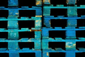 Blue wooden Pallets